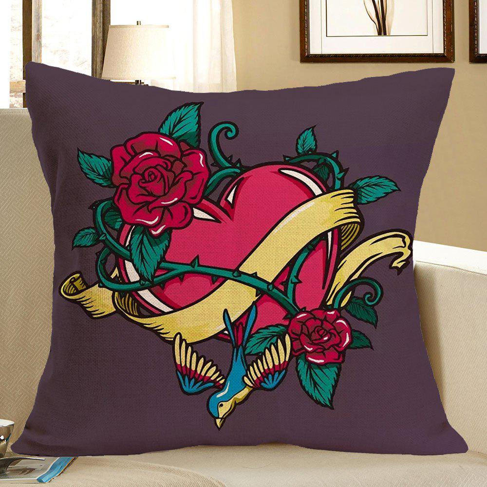 Flower Twining Heart Printed Home Decor Pillow Case - COLORFUL W18 INCH * L18 INCH