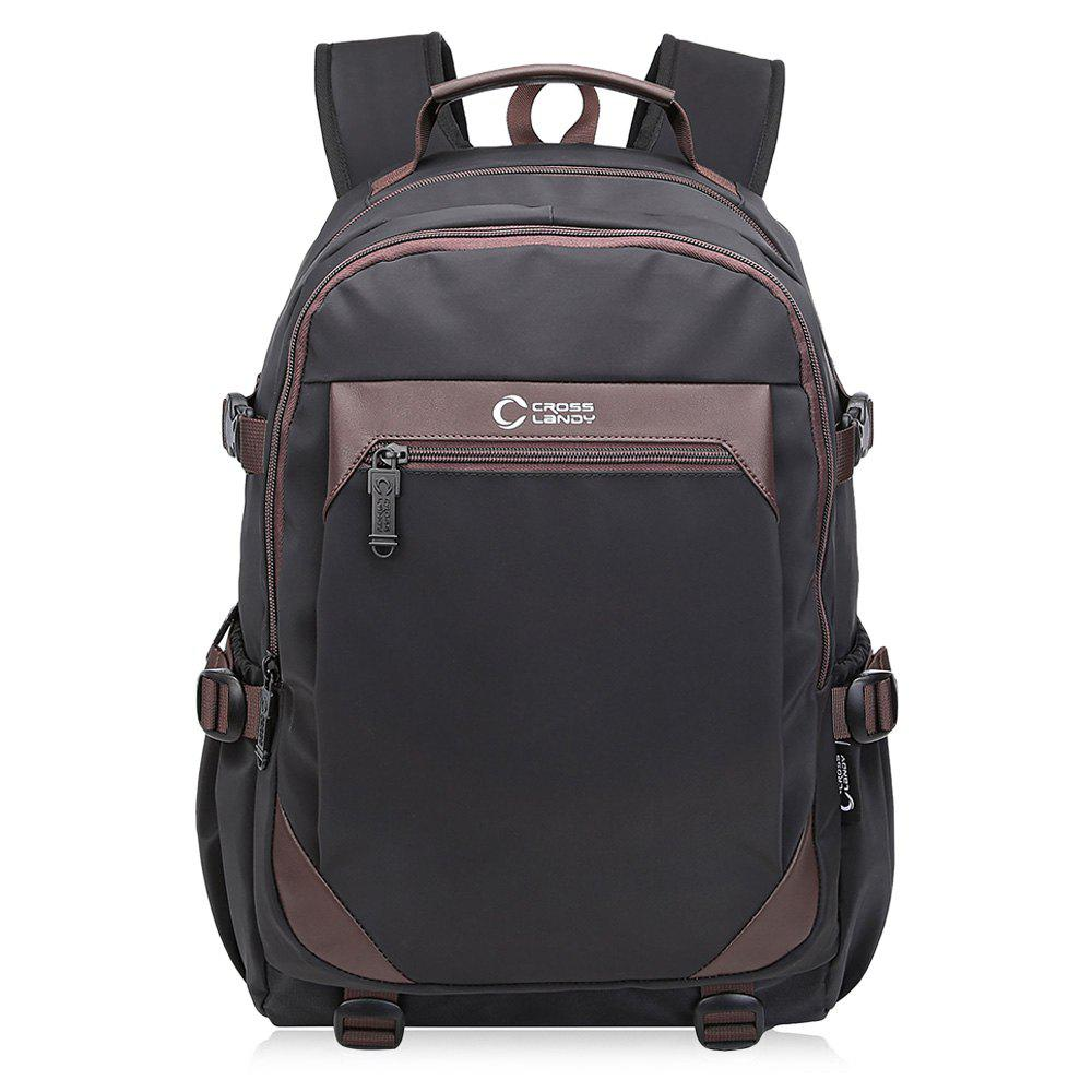 Top Handle Multi Buckles Laptop Backpack - BLACK VERTICAL