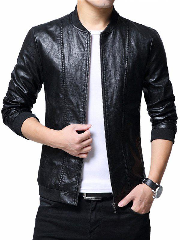 Zipper Up Casual Faux Leather Bomber Jacket - BLACK 3XL