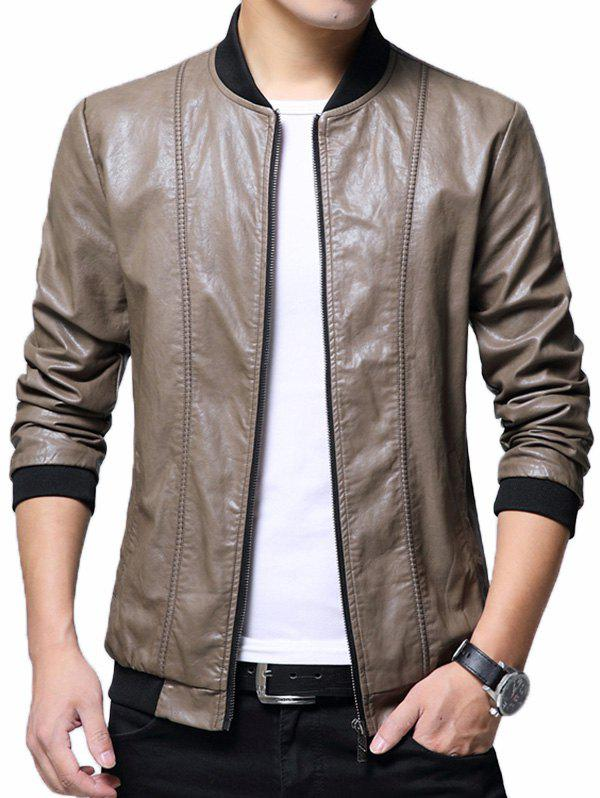 Zipper Up Casual Faux Leather Bomber Jacket - KHAKI XL