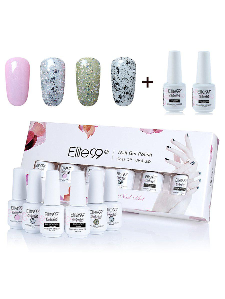 Ensemble de Vernis à Ongles Gel à Tremper Elite99 UV LED 6 Couleurs avec Paillettes -