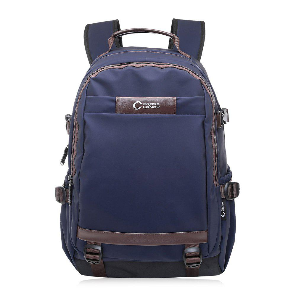 Contrast Color Multi Buckles Laptop Backpack - BLUE VERTICAL