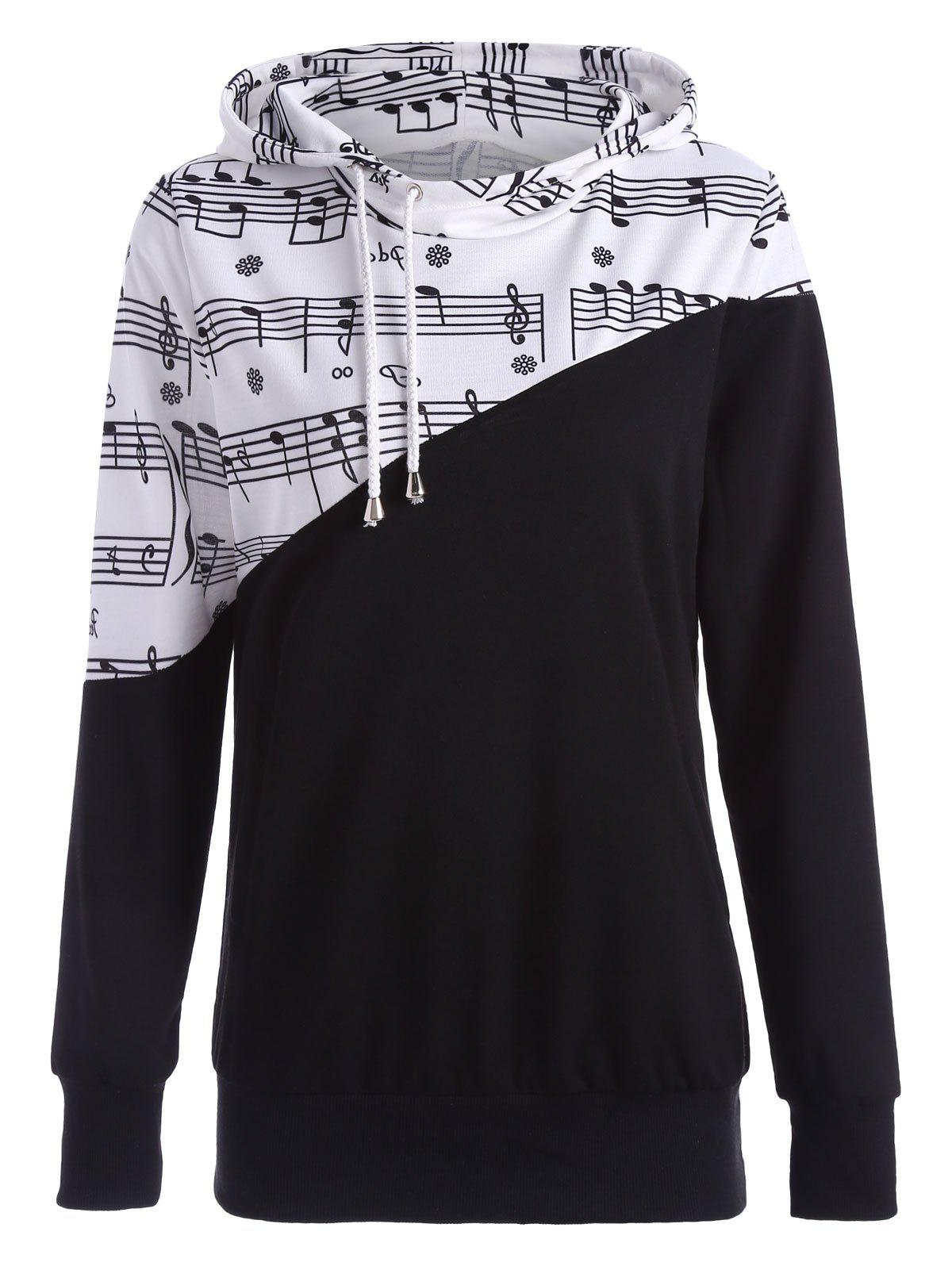 Music Note Two Tone Hoodie - BLACK M