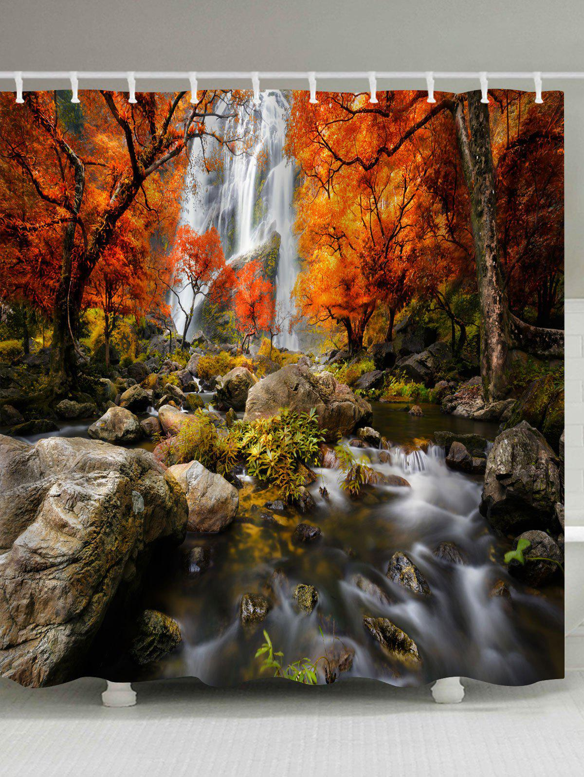 Waterfall Maple Forest Print Waterproof Bathroom Shower Curtain merry christmas waterproof shower curtain bathroom decoration
