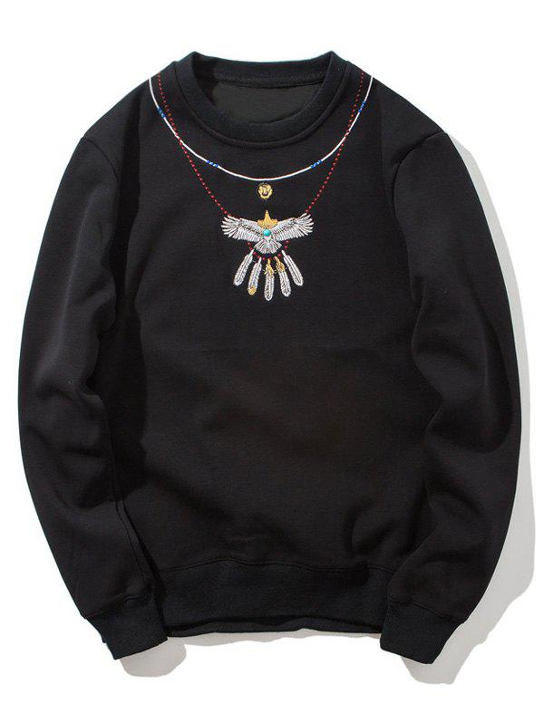 Crew Neck Embroidered Flocking Sweatshirt - BLACK L
