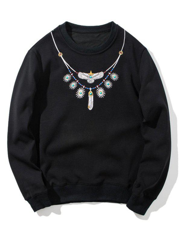 Beaded Embroidered Flocking Sweatshirt - BLACK XL