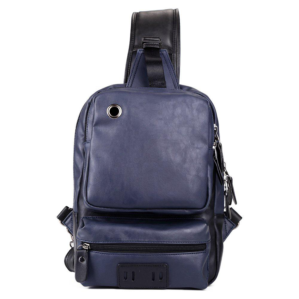 Eyelet PU Leather Chest Bag - BLUE
