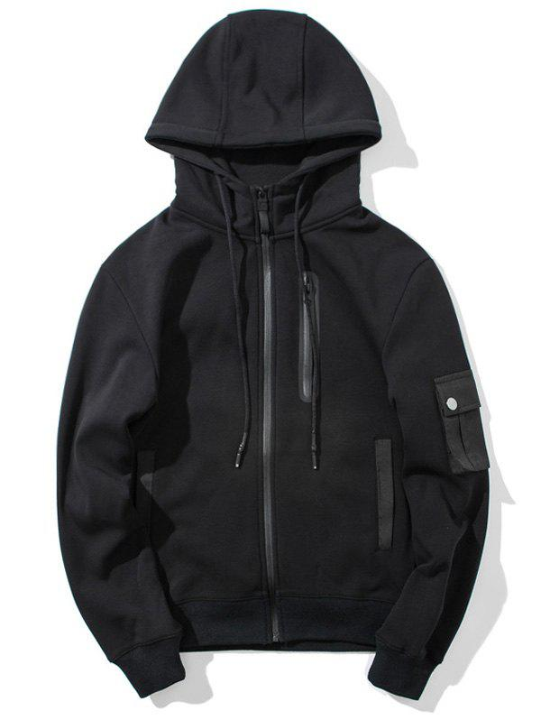 Zip Up Flocking Hoodie - BLACK 2XL