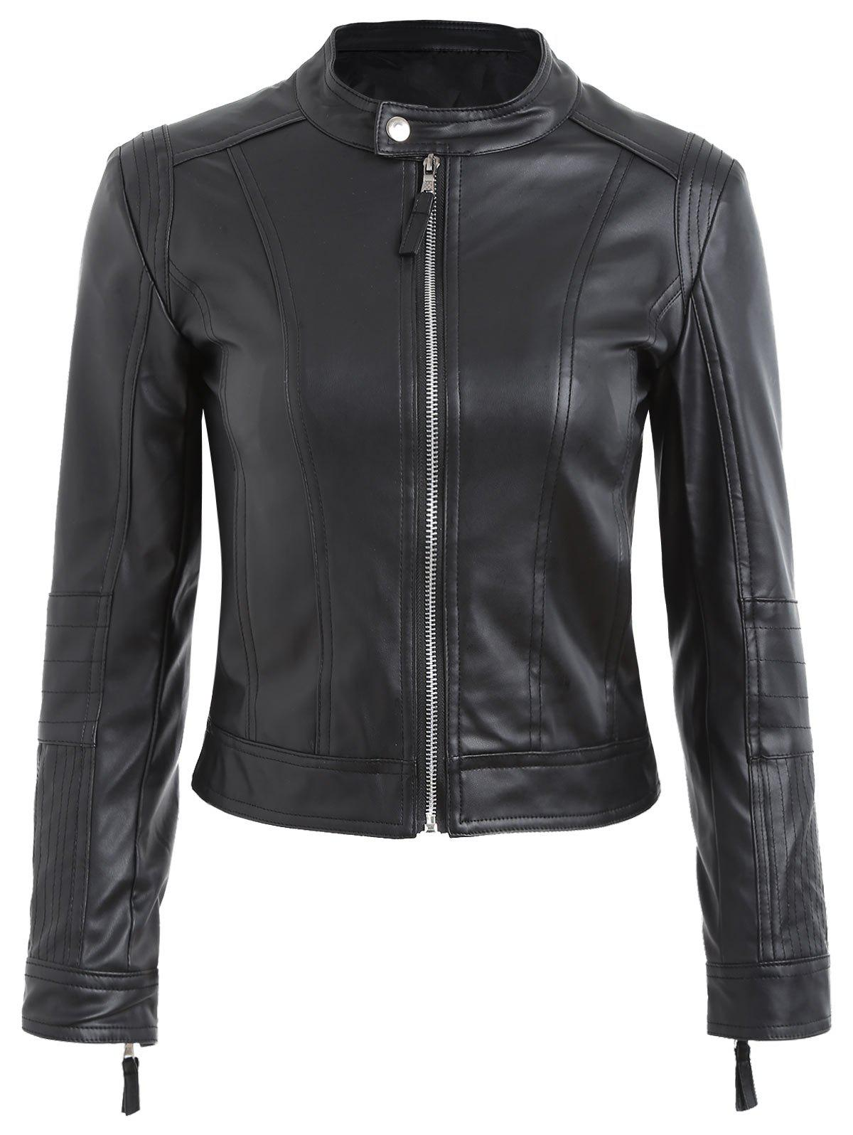 Zipper Fly Faux Leather Biker Jacket - BLACK L