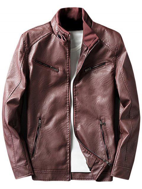 Zipper Embellished Elbow Patch Faux Leather Jacket - Rouge M