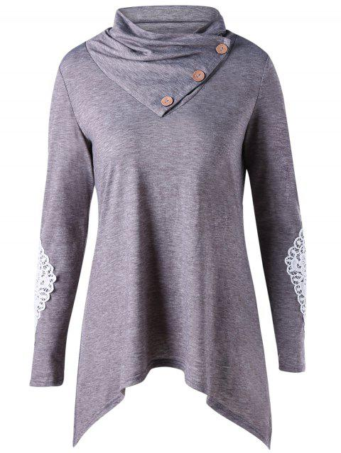 Applique Long Sleeve Asymmetrical Top - Gris 2XL