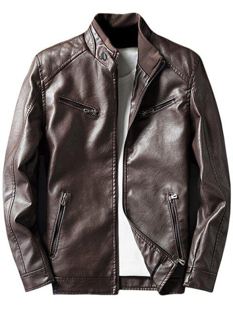 Zipper Embellished Elbow Patch Faux Leather Jacket - Café M