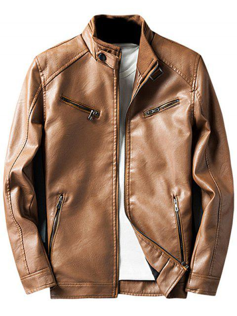 Zipper Embellished Elbow Patch Faux Leather Jacket - Terreux M