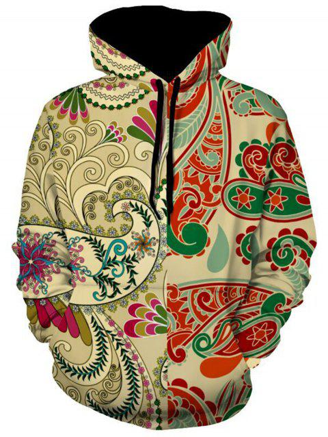 Kangaroo Pocket Paisley Print Pullover Hoodie - COLORMIX L
