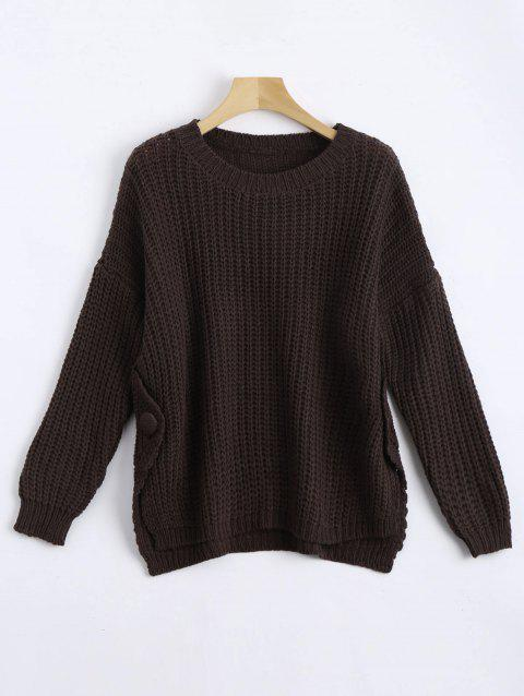 Plus Size Side Slit Chunky Knit Jumper - COFFEE ONE SIZE
