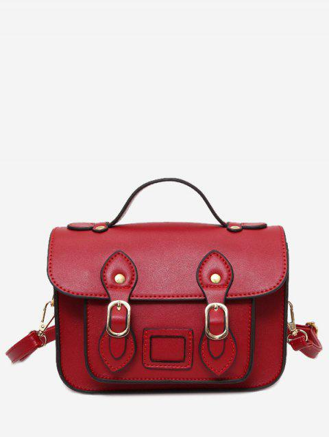 Double Buckle Straps Faux Leather Crossbody Bag - RED