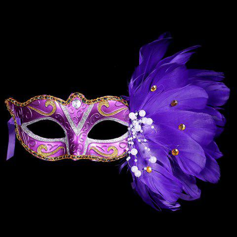 Halloween Party Faux Feathers Mask - BLUE