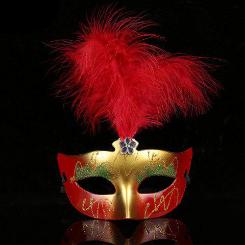 Halloween Party Faux Feather Floral Mask - RED
