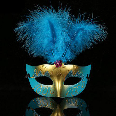 Halloween Party Faux Feather Floral Mask - BLUE