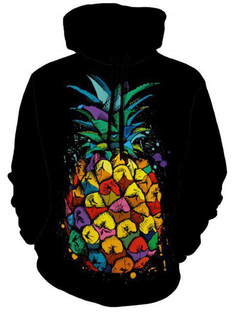 Pineapple Fruit Print Pullover Hoodie - BLACK 3XL
