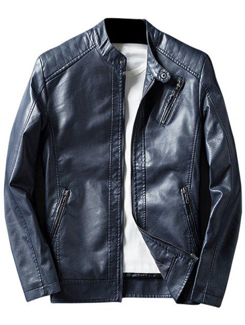 Casual Zippered Faux Leather Jacket - DEEP BLUE 3XL