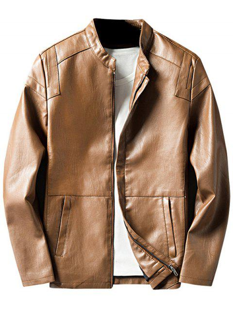 Casual Zipper Up PU Leather Jacket - EARTHY L