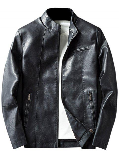 Stand Collar Zippered Casual Faux Leather Jacket - BLACK 3XL