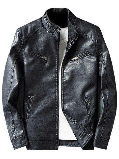 Zipper Embellished Elbow Patch Faux Leather Jacket - Noir L