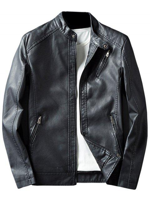Casual Zippered Faux Leather Jacket - BLACK XL