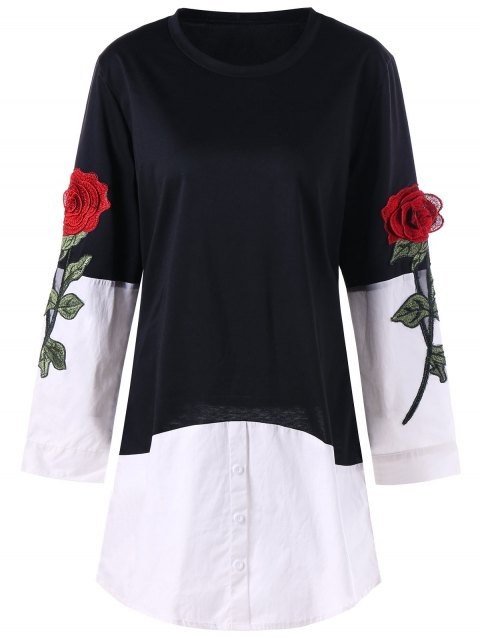 Rose Applique Contrat Shirt Hem Longline Top - Noir XL
