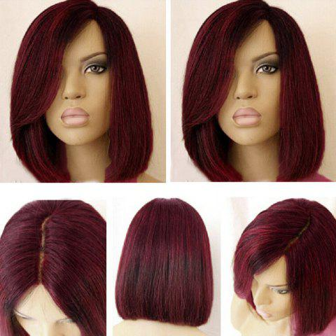 Short Side Part Dark Root Straight Bob Colormix Synthetic Wig - WINE RED