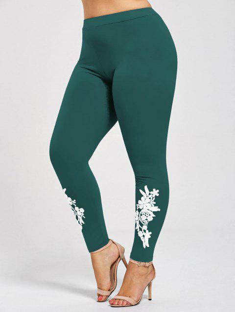 Leggings Moulants en Jersey à Applique Grande Taille - Vert Jade XL
