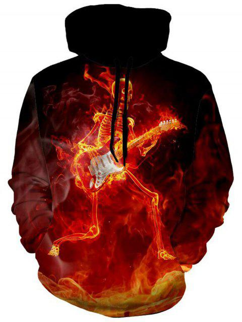 Skeleton with Guitar Halloween Pullover Hoodie - COLORMIX M