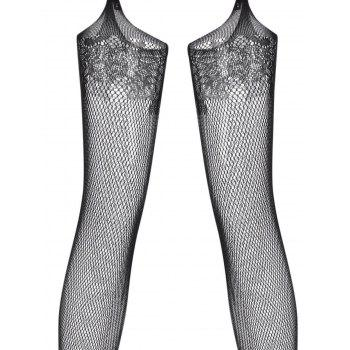 Fishnet Garter Cut Out Sheer Bodystockings - BLACK ONE SIZE