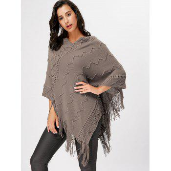 V Neck Fringe Knitted Cape - KHAKI KHAKI
