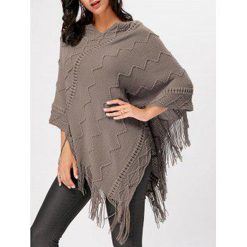 V Neck Fringe Knitted Cape - KHAKI S