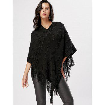 V Neck Fringe Knitted Cape - BLACK BLACK
