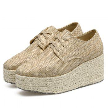 Square Toe Espadrille Sole Platform Shoes - APRICOT 37