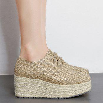 Square Toe Espadrille Sole Platform Shoes - APRICOT 39