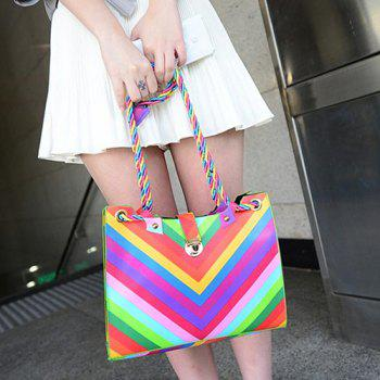 Striped Rainbow Faux Leather Shoulder Bag - COLORFUL
