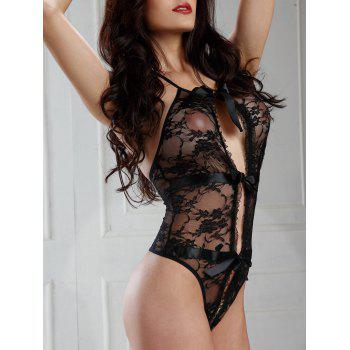 Lace Sheer Cut Out Teddy - Noir ONE SIZE