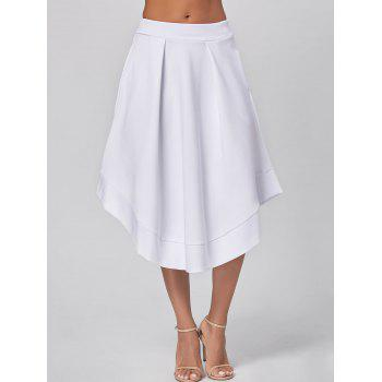 High Waist Midi Flared Skirt - WHITE 2XL