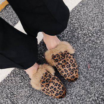 Flat Faux Fur Leopard Mules Shoes - BROWN LEOPARD BROWN LEOPARD