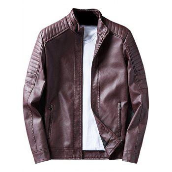 Zip Up Padded Design Faux Leather Jacket