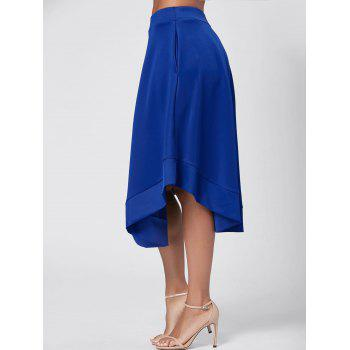 High Waist Midi Flared Skirt - BLUE M