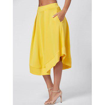 High Waist Midi Flared Skirt - YELLOW M