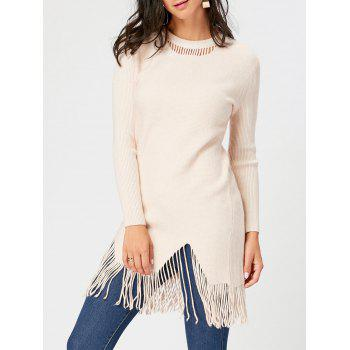 Fringed Cut Out Ribbed Sweater