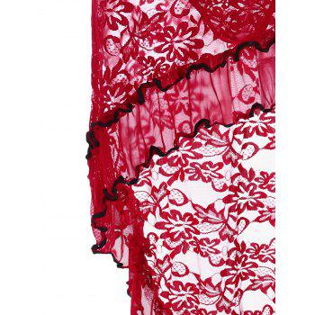 Ruffled High Low Lace Babydoll - Rouge ONE SIZE