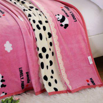 Panda Pattern Soft Bedroom Throw Blanket - PINK DOUBLE