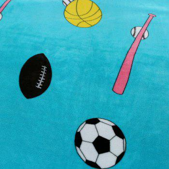 Football Printed Sport Soft Throw Blanket - AZURE BLUE EURO KING